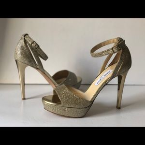 JIMMY CHOO GOLD GLITTER PLATFORM SANDALS